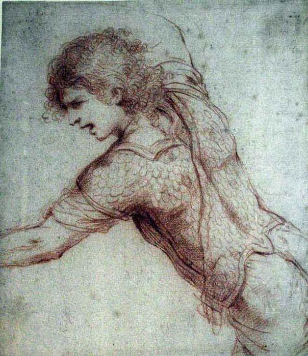 Warrior Kneeling with Arms Outstretched, Drawing by Guercino (Barbieri, Giovanni Francesco) (1591-1666, Italy)