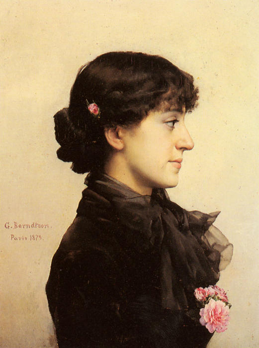 A lady in black with pink roses by Gunnar Berndtson (1854-1895, Finland) | Art Reproduction | ArtsDot.com