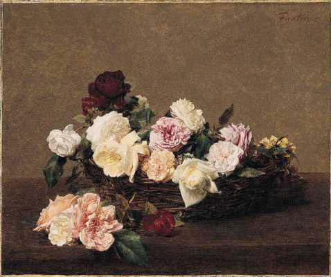 A Basket of Roses, Oil by Henri Fantin Latour (1836-1904, France)
