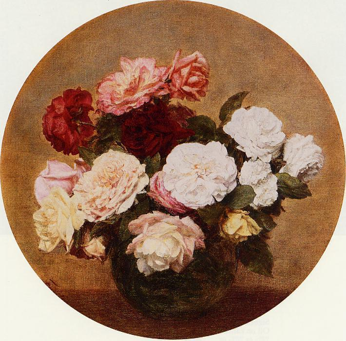 A Large Bouquet of Roses, Oil by Henri Fantin Latour (1836-1904, France)