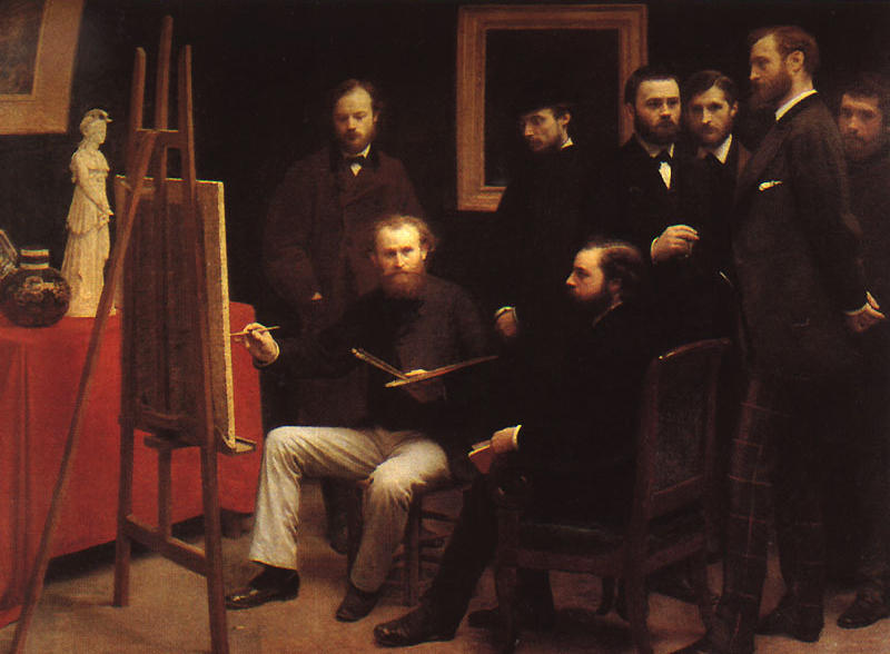 An Atelier in the Batignolles, Oil by Henri Fantin Latour (1836-1904, France)