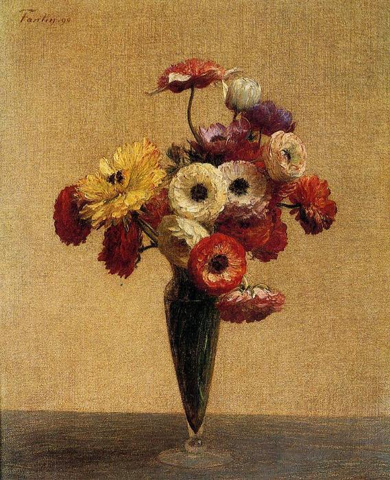 Anemones and Buttercups, Oil by Henri Fantin Latour (1836-1904, France)