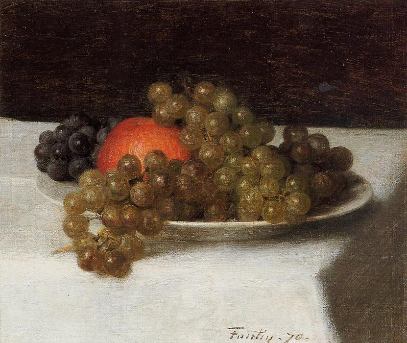 Apples and Grapes, Oil by Henri Fantin Latour (1836-1904, France)