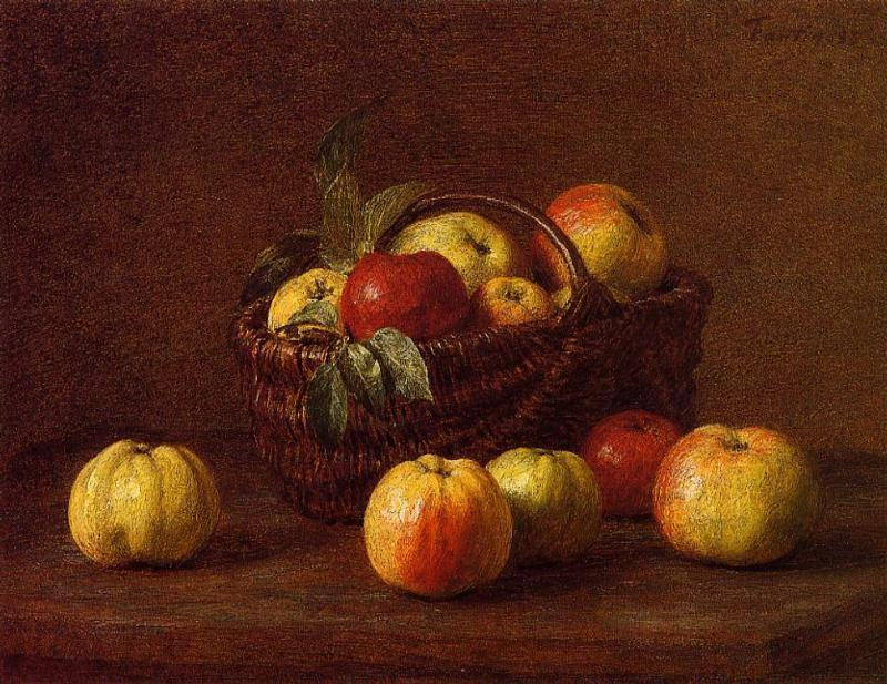 Apples in a Basket on a Table, Oil by Henri Fantin Latour (1836-1904, France)