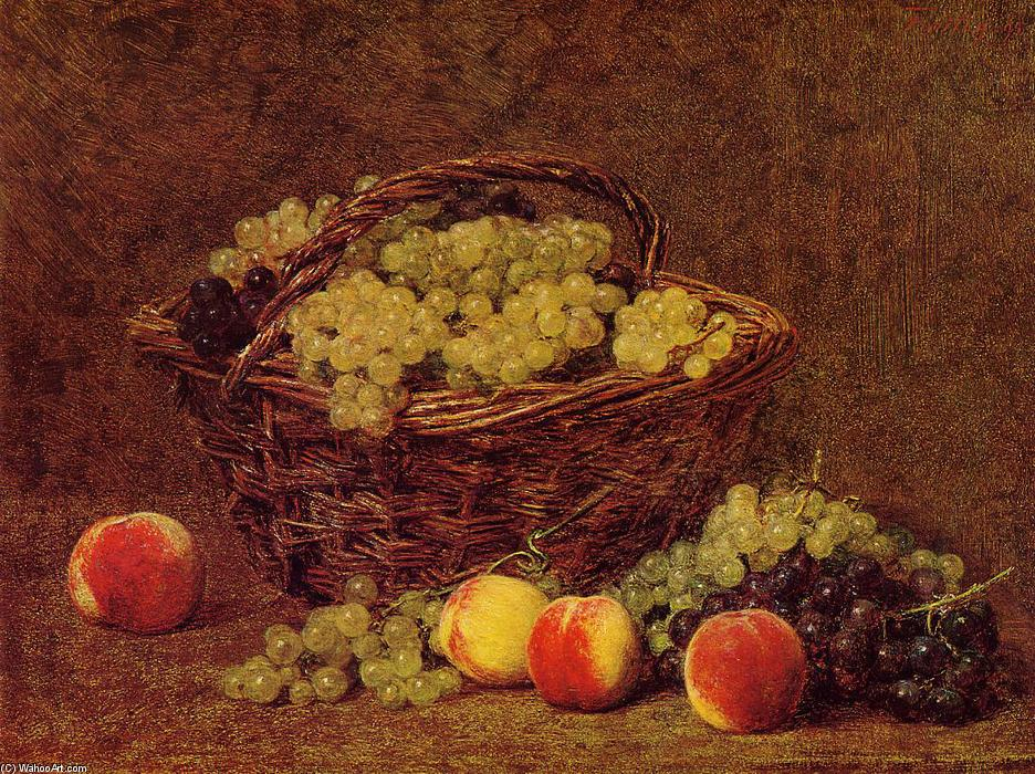 Basket of White Grapes and Peaches, Oil by Henri Fantin Latour (1836-1904, France)