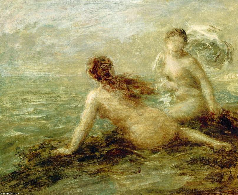 Bathers by the Sea, Oil by Henri Fantin Latour (1836-1904, France)