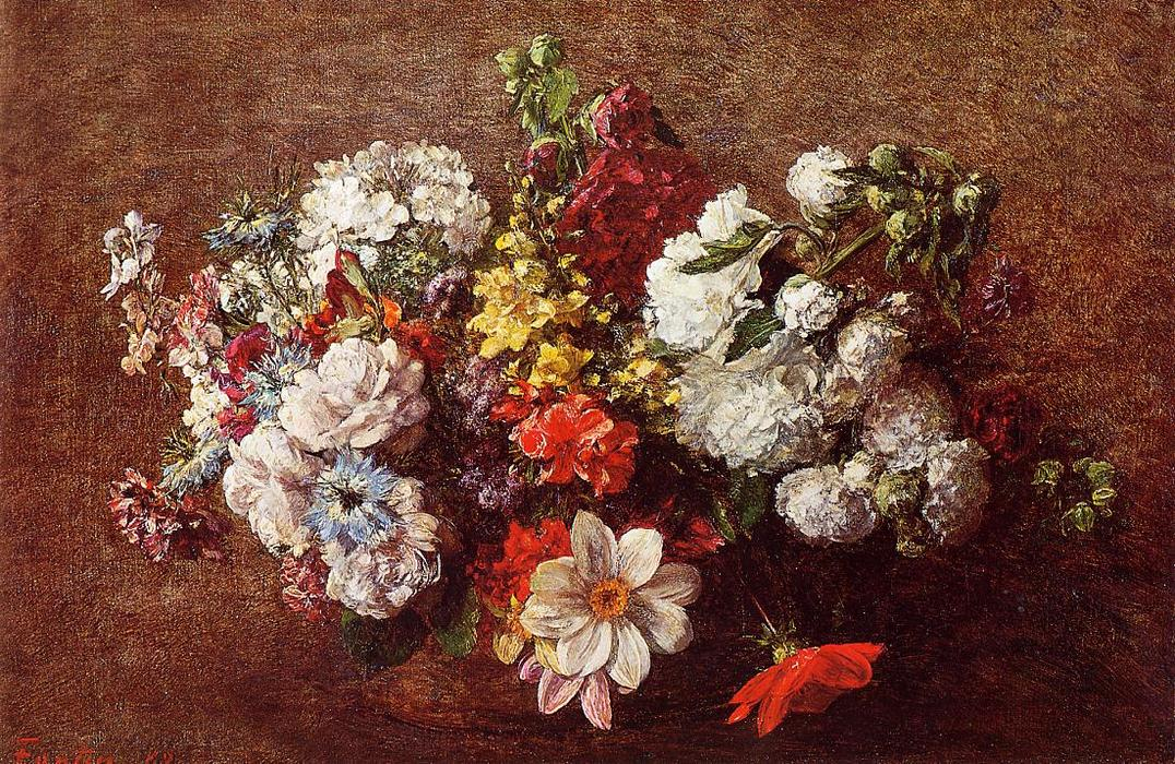 Bouquet of Flowers 1, Oil by Henri Fantin Latour (1836-1904, France)