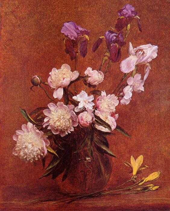 Bouquet of Peonies and Iris, Oil by Henri Fantin Latour (1836-1904, France)