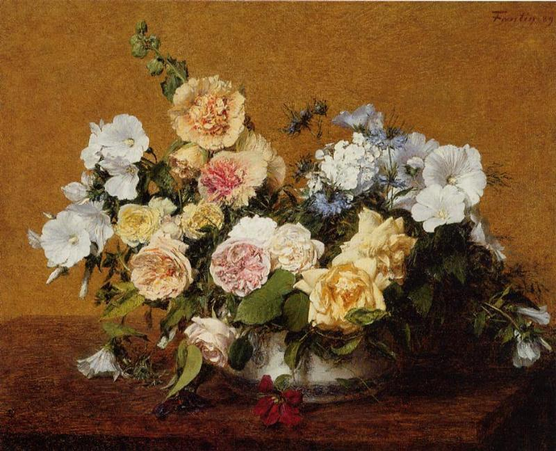 Bouquet of Roses and Other Flowers, Oil by Henri Fantin Latour (1836-1904, France)