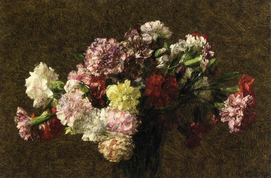 Carnations 1, Oil by Henri Fantin Latour (1836-1904, France)