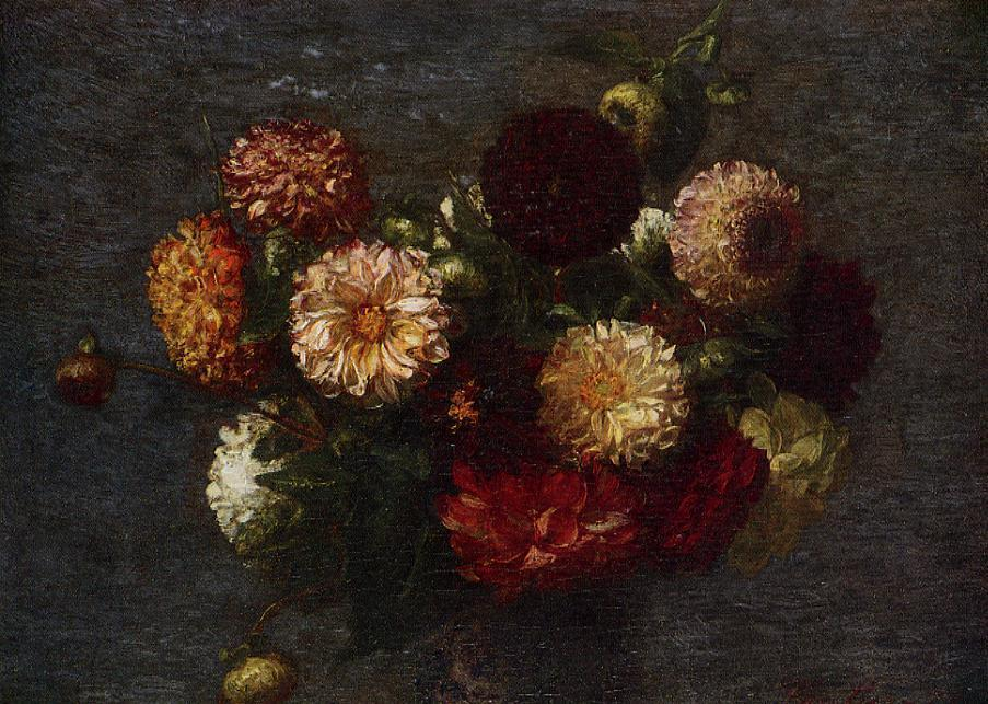 Chrysanthemums 1, Oil by Henri Fantin Latour (1836-1904, France)
