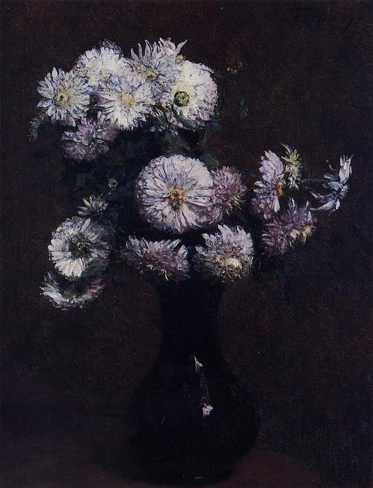 Chrysanthemums, Oil by Henri Fantin Latour (1836-1904, France)