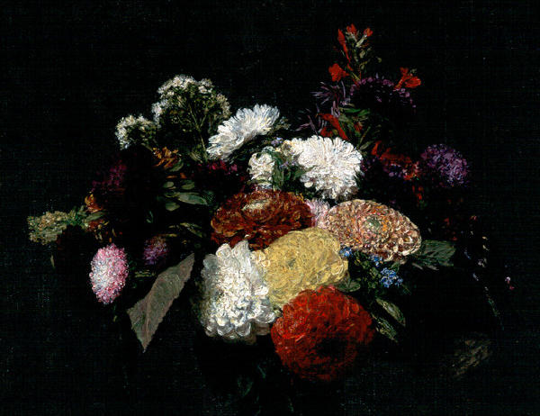 Dahlias, Oil by Henri Fantin Latour (1836-1904, France)
