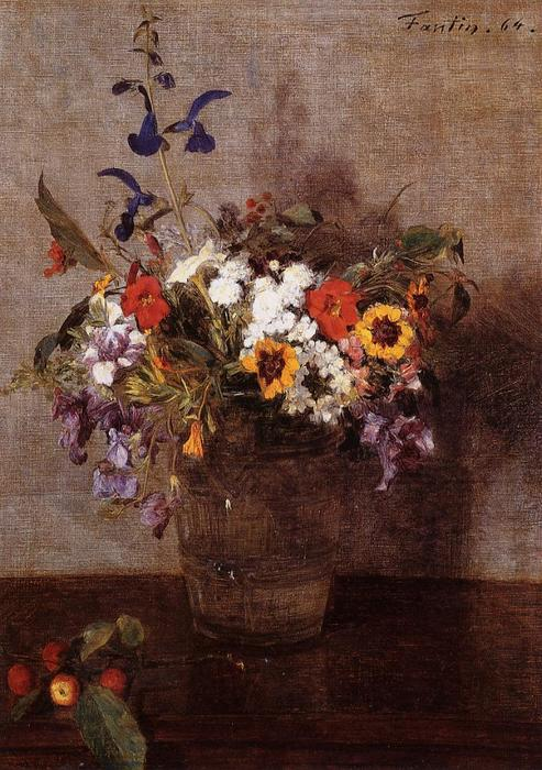 Diverse Flowers, Oil by Henri Fantin Latour (1836-1904, France)