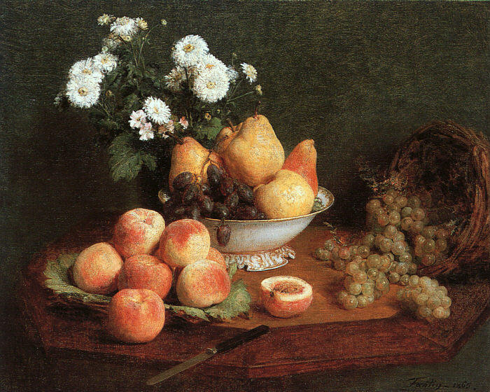 Flowers & Fruit on a Table, Oil by Henri Fantin Latour (1836-1904, France)
