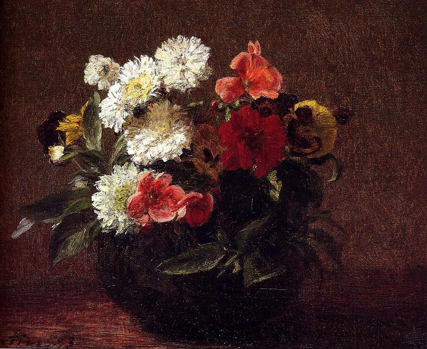 Flowers In A Clay Pot, Oil by Henri Fantin Latour (1836-1904, France)