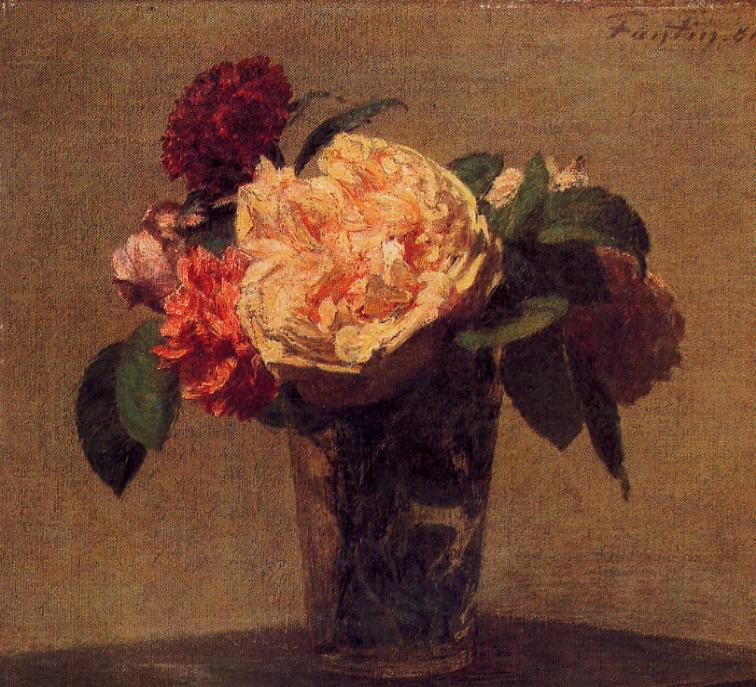 Flowers in a Vase, Oil by Henri Fantin Latour (1836-1904, France)
