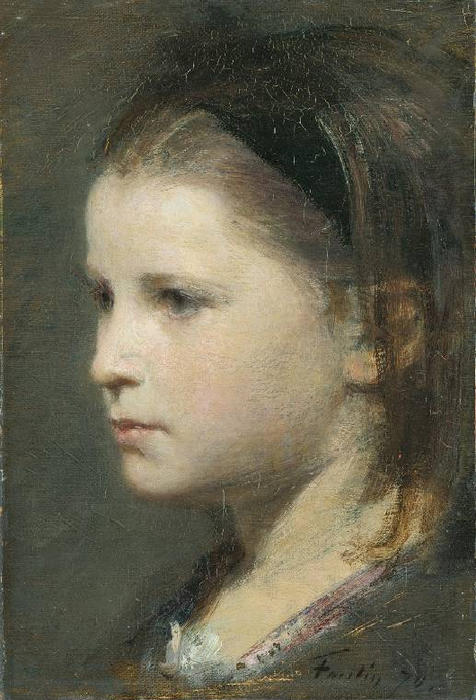 Head of a Young Girl, Oil by Henri Fantin Latour (1836-1904, France)