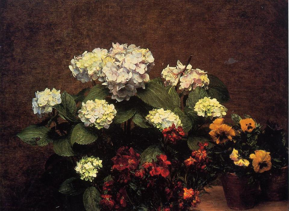 Hydrangias, Cloves and Two Pots of Pansies, Oil by Henri Fantin Latour (1836-1904, France)