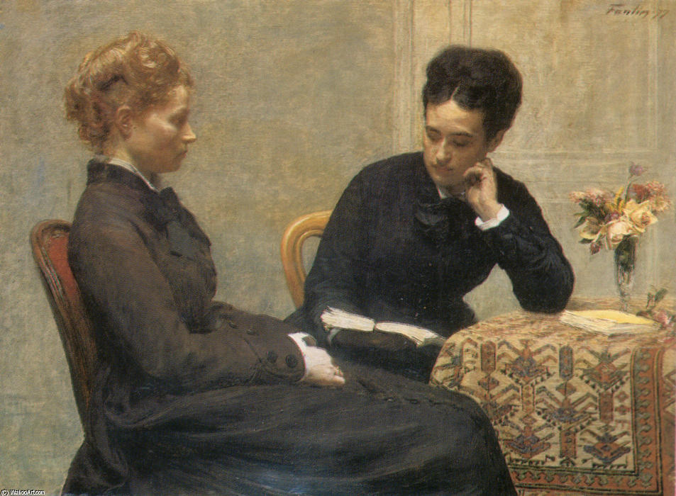 La Lecture, Oil by Henri Fantin Latour (1836-1904, France)