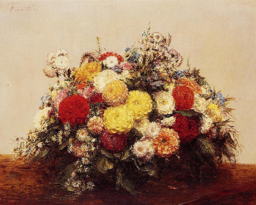 Large Vase of Dahlias and Assorted Flowers, Oil by Henri Fantin Latour (1836-1904, France)