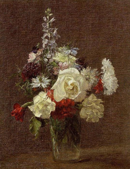 Mixed Flowers, Oil by Henri Fantin Latour (1836-1904, France)