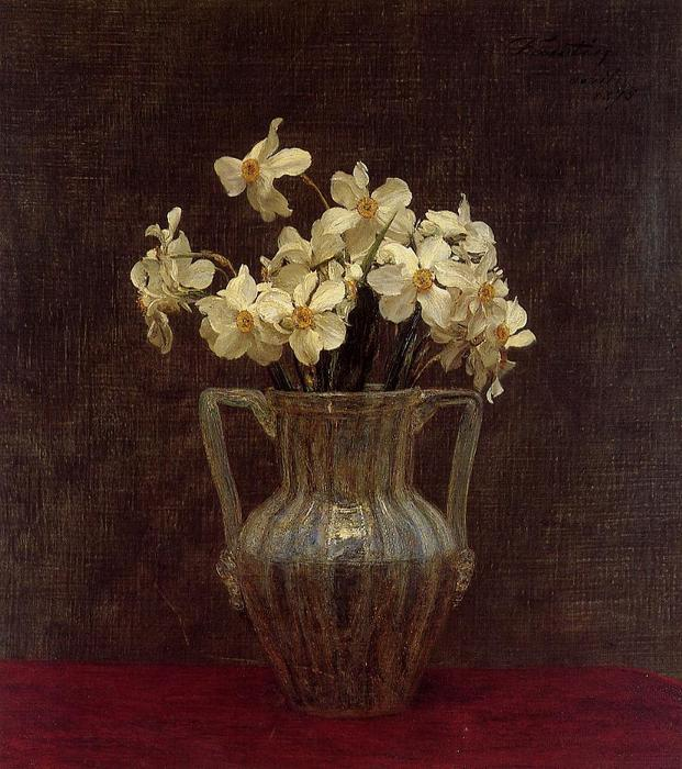 Narcisses in an Opaline Glass Vase, Oil by Henri Fantin Latour (1836-1904, France)