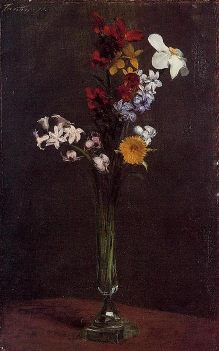 Narcisses, Hyacinths and Nasturtiums, Oil by Henri Fantin Latour (1836-1904, France)