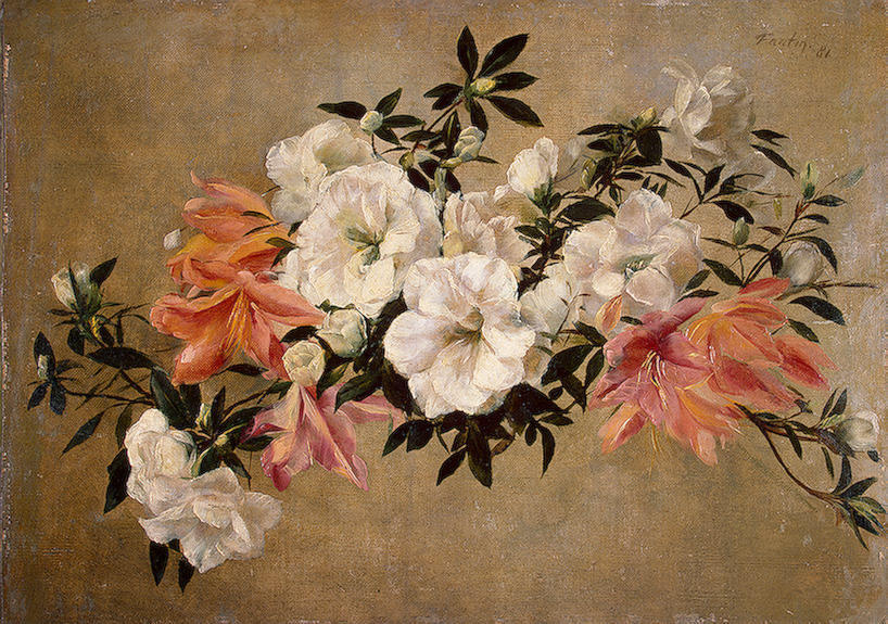 Petunias, Oil by Henri Fantin Latour (1836-1904, France)