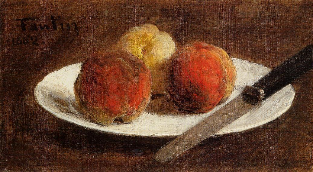 Plate of Peaches, Oil by Henri Fantin Latour (1836-1904, France)