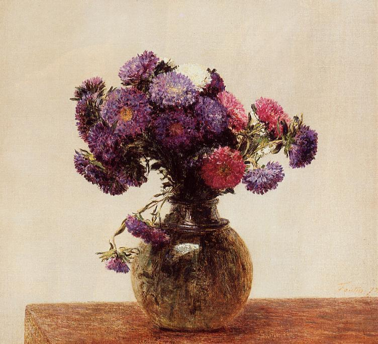 Queens Daisies, Oil by Henri Fantin Latour (1836-1904, France)