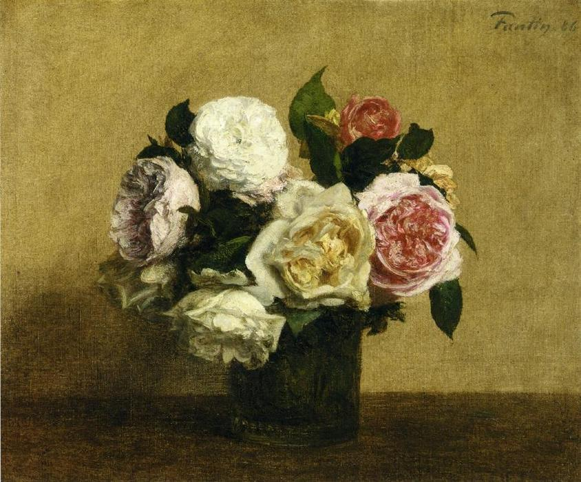 Roses 1, Oil by Henri Fantin Latour (1836-1904, France)