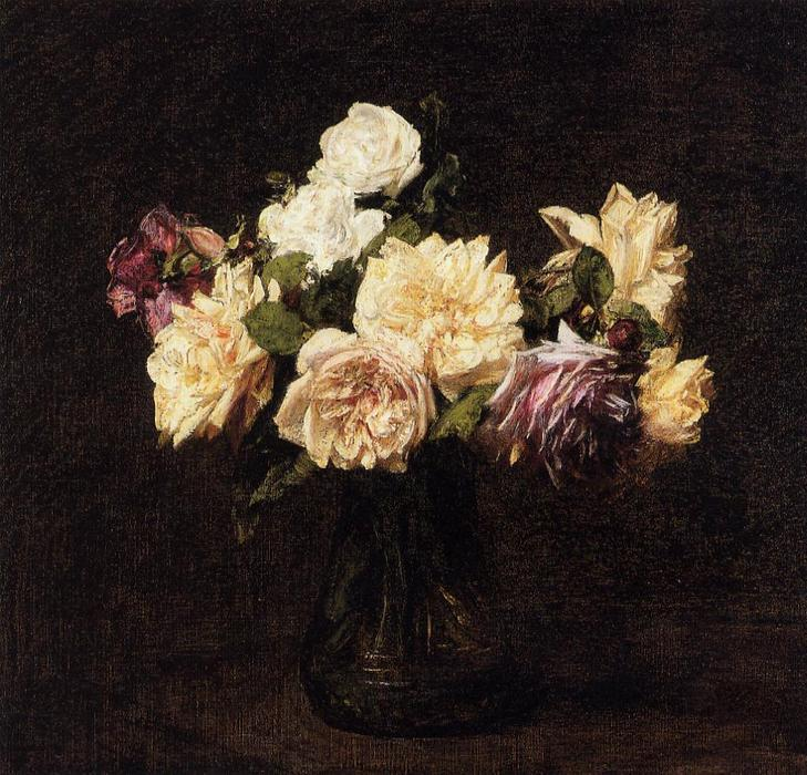 Roses 3, Oil by Henri Fantin Latour (1836-1904, France)