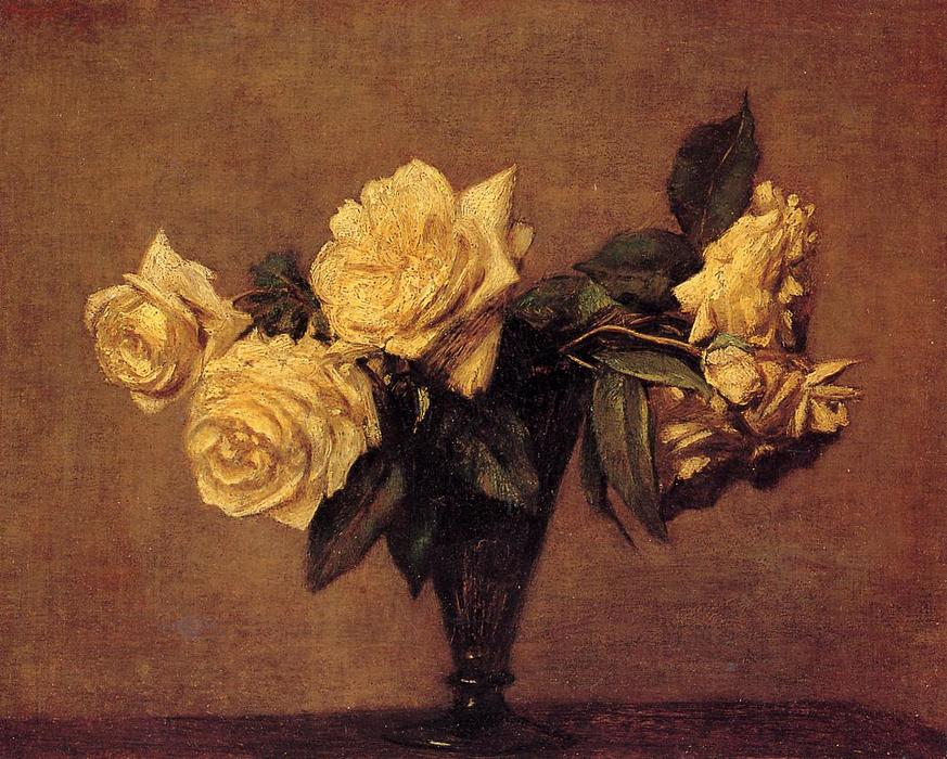 Roses 5, Oil by Henri Fantin Latour (1836-1904, France)