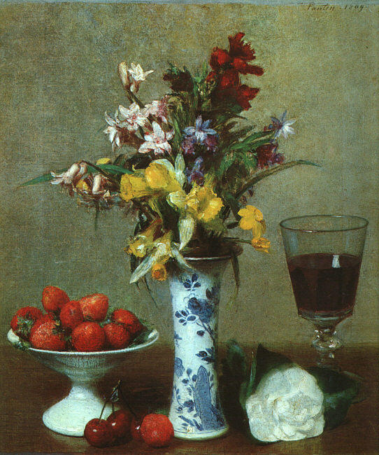Still Life 3, Oil by Henri Fantin Latour (1836-1904, France)