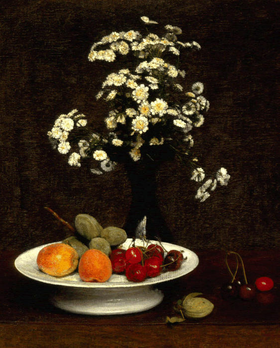 Still Life with Flowers 1, Oil by Henri Fantin Latour (1836-1904, France)
