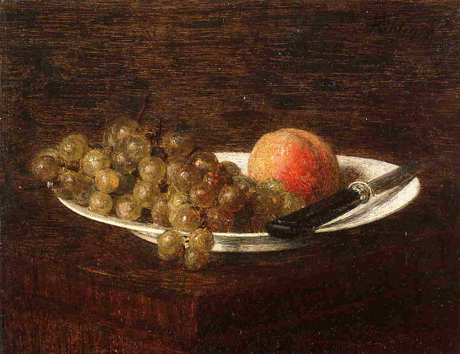 Still Life. Peach and Grapes, Oil by Henri Fantin Latour (1836-1904, France)