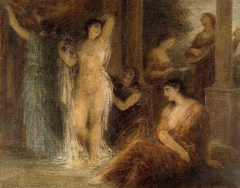 The Bath, Oil by Henri Fantin Latour (1836-1904, France)