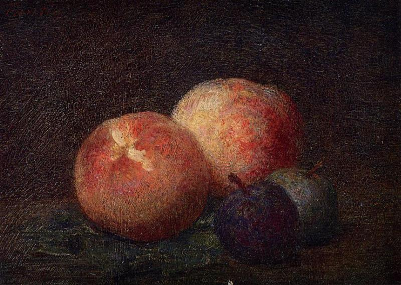 Two Peaches and Two Plums, Oil by Henri Fantin Latour (1836-1904, France)
