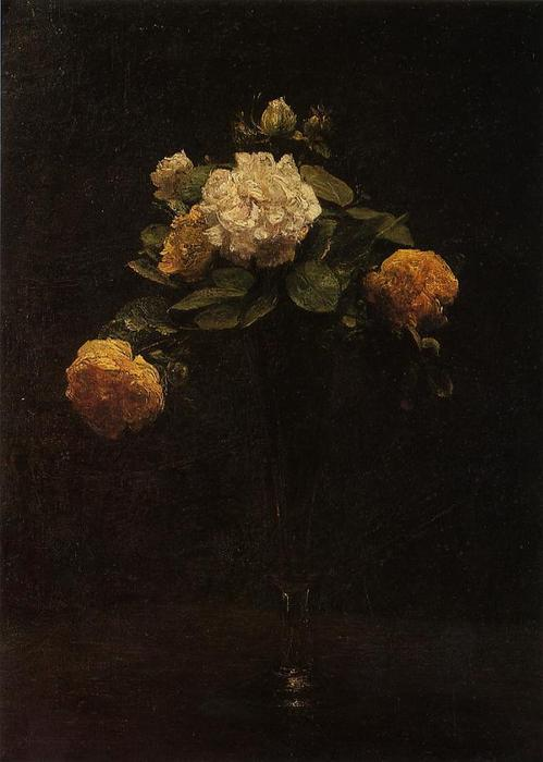 White and Yellow Roses in a Tall Vase, Oil by Henri Fantin Latour (1836-1904, France)