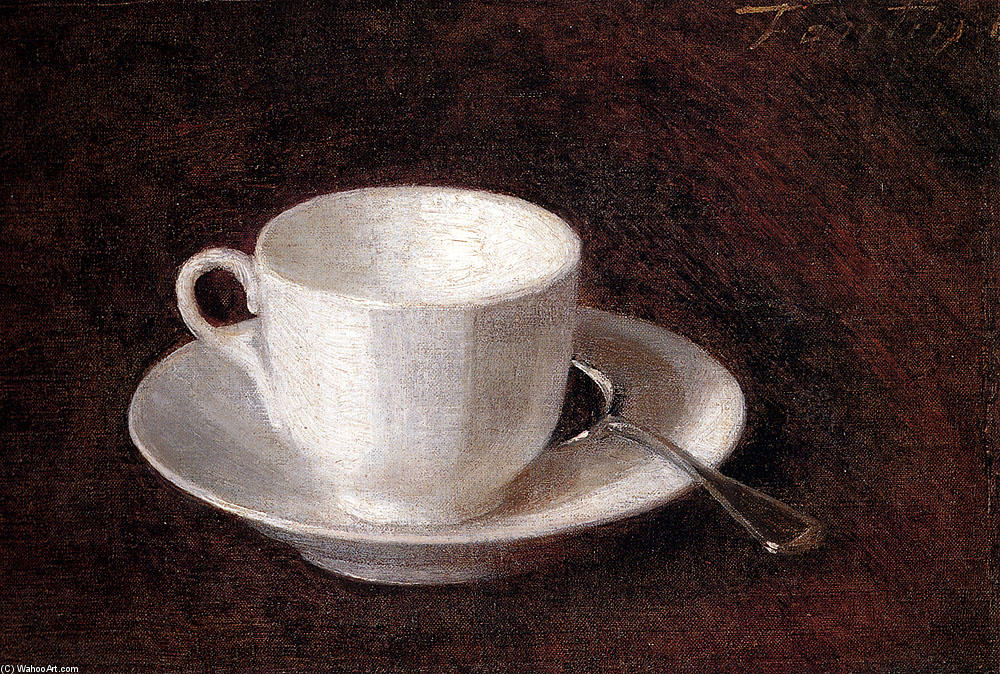 White Cup And Saucer, Oil by Henri Fantin Latour (1836-1904, France)