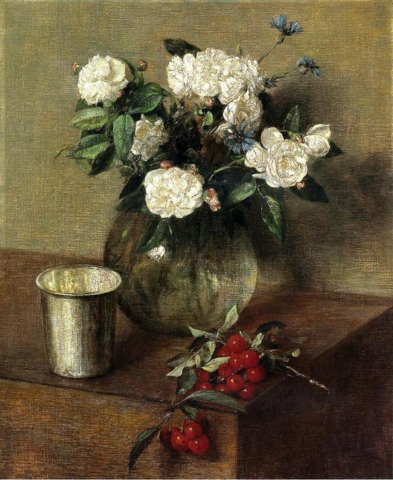White Roses and Cherries, Oil by Henri Fantin Latour (1836-1904, France)