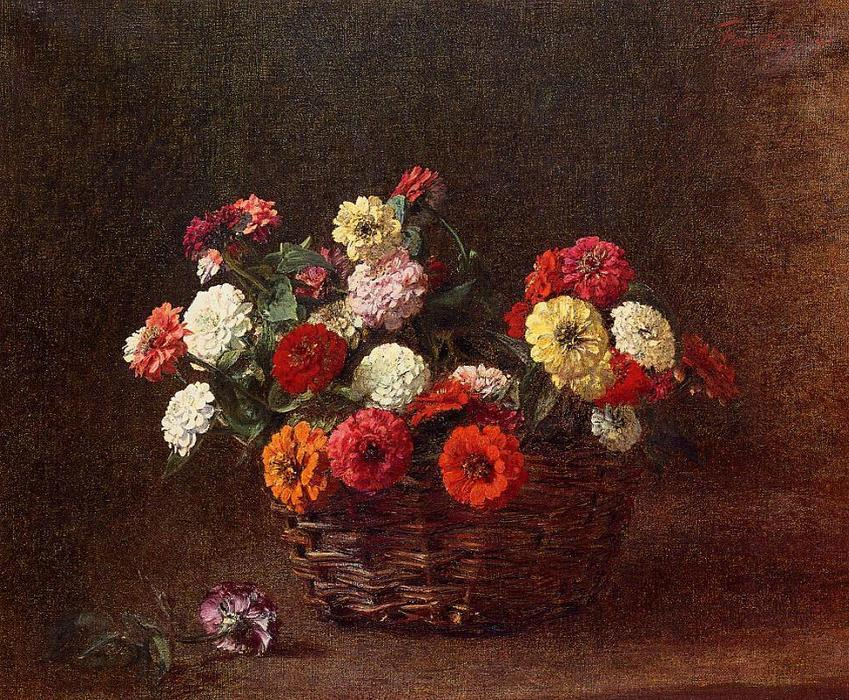 Zinnias 1, Oil by Henri Fantin Latour (1836-1904, France)