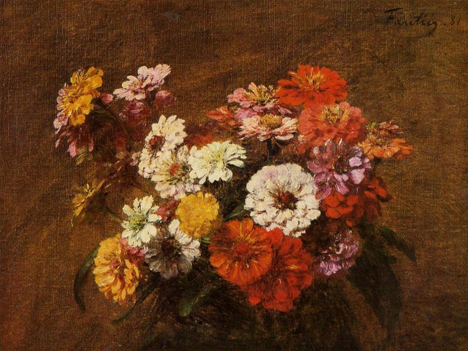 Zinnias in a Vase, Oil by Henri Fantin Latour (1836-1904, France)