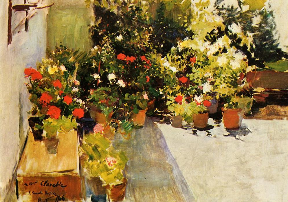 A Rooftop with Flowers, Oil On Canvas by Joaquin Sorolla Y Bastida (1863-1923, Spain)