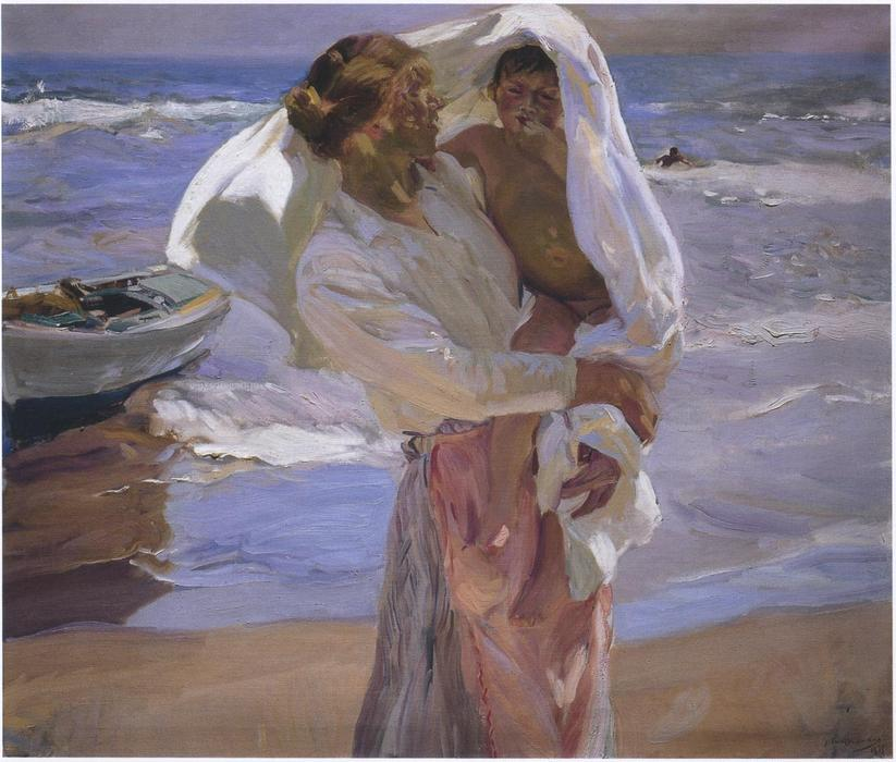After bathing, Valencia, Oil by Joaquin Sorolla Y Bastida (1863-1923, Spain)