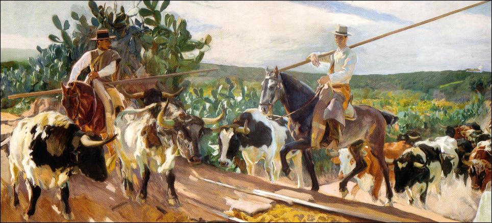 Andalusia, The Round Up, Oil by Joaquin Sorolla Y Bastida (1863-1923, Spain)