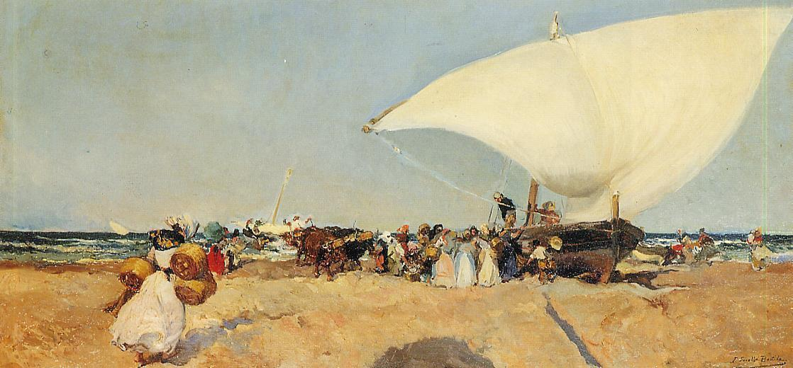 Arrival of the Boats, Oil by Joaquin Sorolla Y Bastida (1863-1923, Spain)
