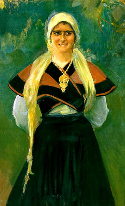 Asturiana, Oil by Joaquin Sorolla Y Bastida (1863-1923, Spain)