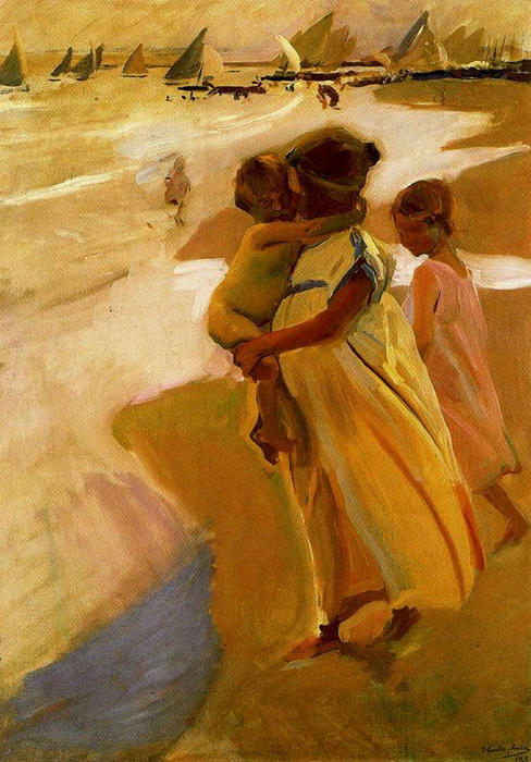 Bathing at Valencia, Oil by Joaquin Sorolla Y Bastida (1863-1923, Spain)